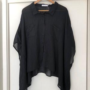 New MINKPINK Sheer billow sleeve black shirt